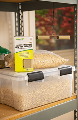 The RESCUE!® Pantry & Birdseed Moth Trap should be placed near stored birdseed.