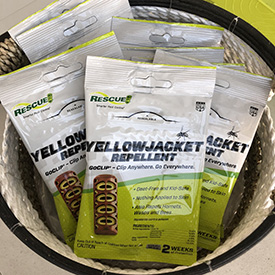 To protect guests at your next event, set out a basket full of Yellowjacket Repellent GoClips.