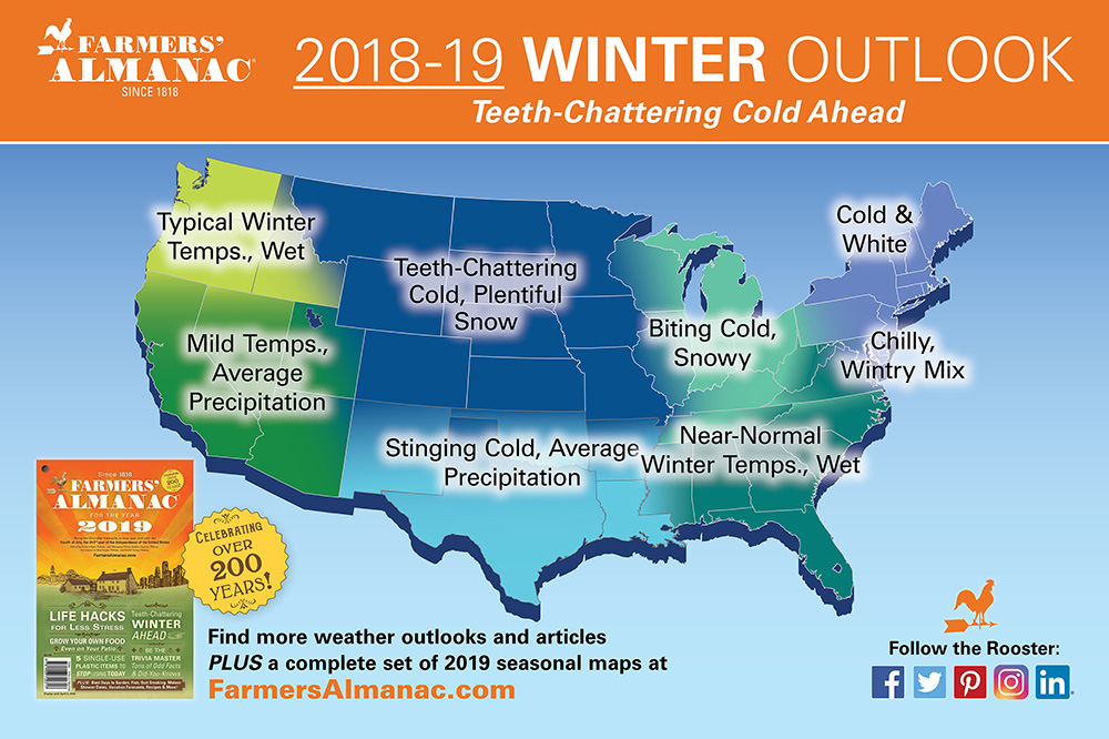 Farmer's Almanac 2018-2019 winter forecast